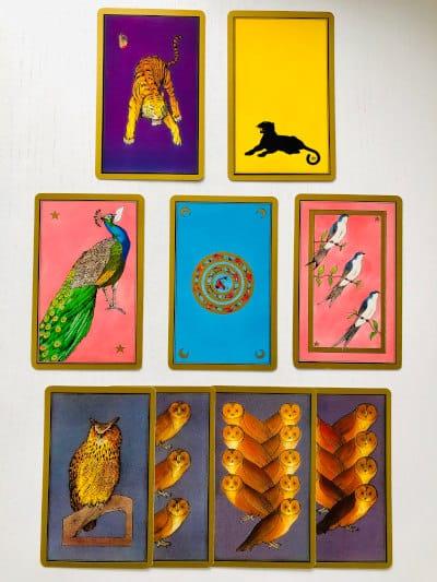 Les animaux présents dans le tarot Persan Indira