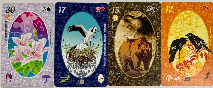 Les symboles Pique, Coeur, Carreau et Trèfle dans le Petit Lenormand Esmeralda