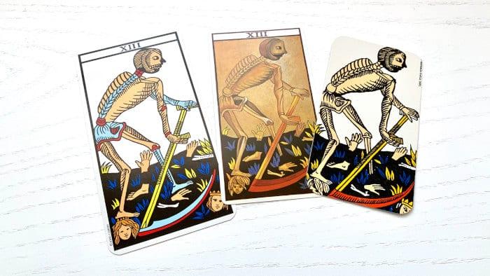 La mort du Tarot de Marseille et ses différentes cartes selon les jeux de tarots