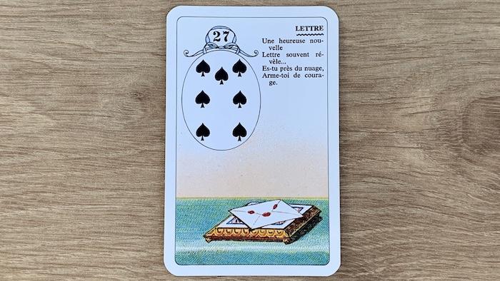 Petit Lenormand - La Lettre (27) et ses associations de cartes