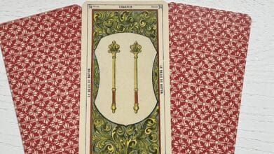 2 de Baton tarot égyptien