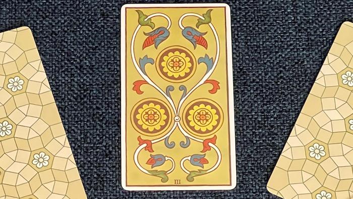 3 de Deniers - arcane mineur - tarot de Marseille - Fournier