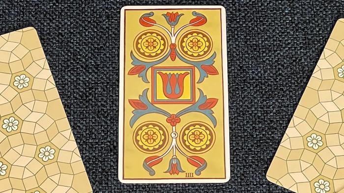4 de Deniers - arcane mineur - tarot de Marseille - Fournier