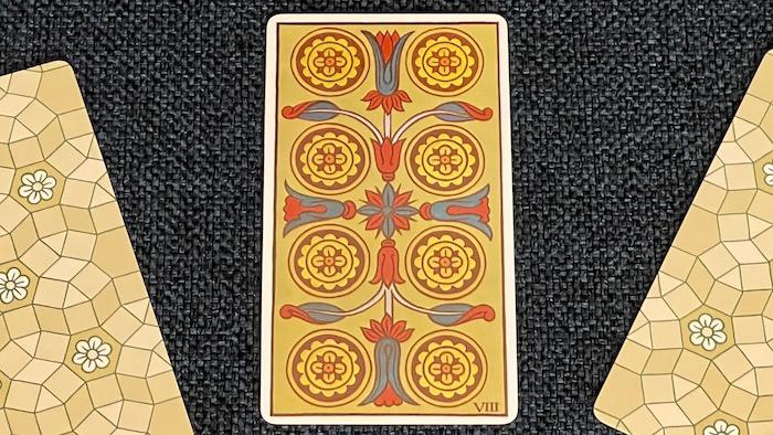 8 de Deniers - arcane mineur - tarot de Marseille - Fournier